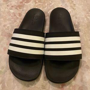 Adidas Black/White Striped Slides - Size 7 - NEW!